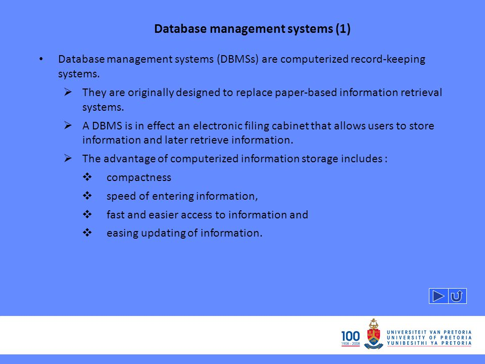 Database management systems (1) Database management systems (DBMSs) are computerized record-keeping systems.