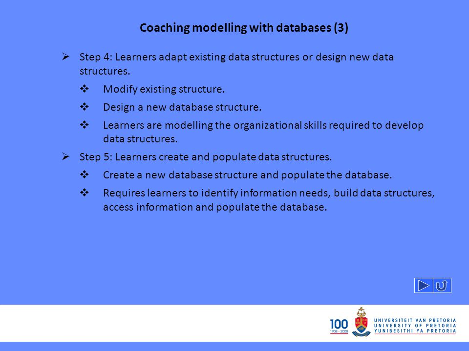 Coaching modelling with databases (3) Step 4: Learners adapt existing data structures or design new data structures.