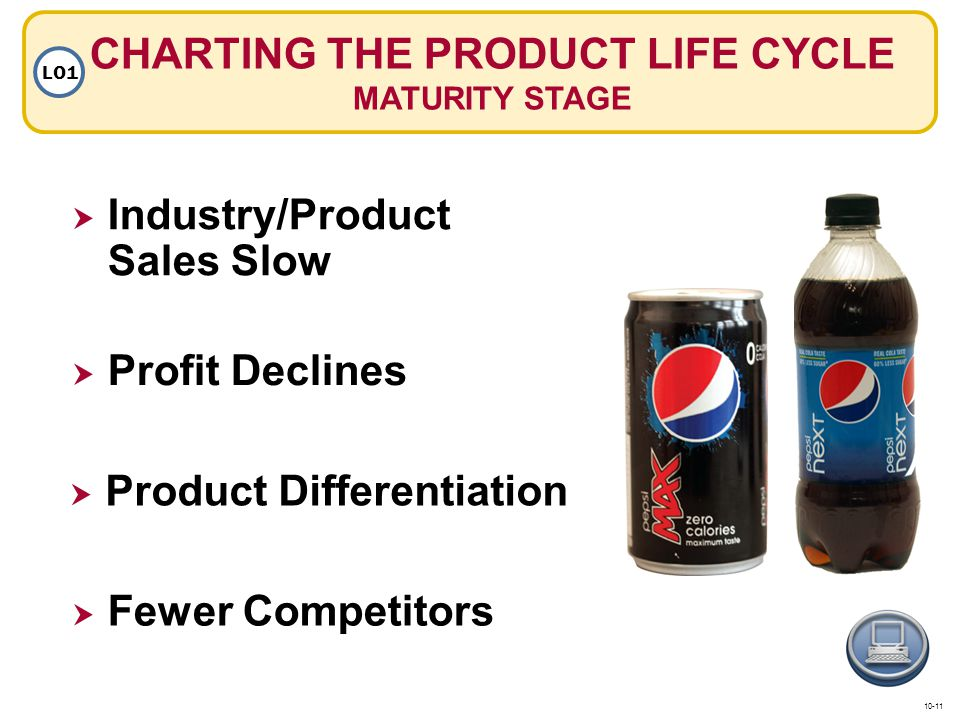 CHARTING THE PRODUCT LIFE CYCLE MATURITY STAGE LO1 Product Differentiation Fewer Competitors Industry/Product Sales Slow Profit Declines 10-11