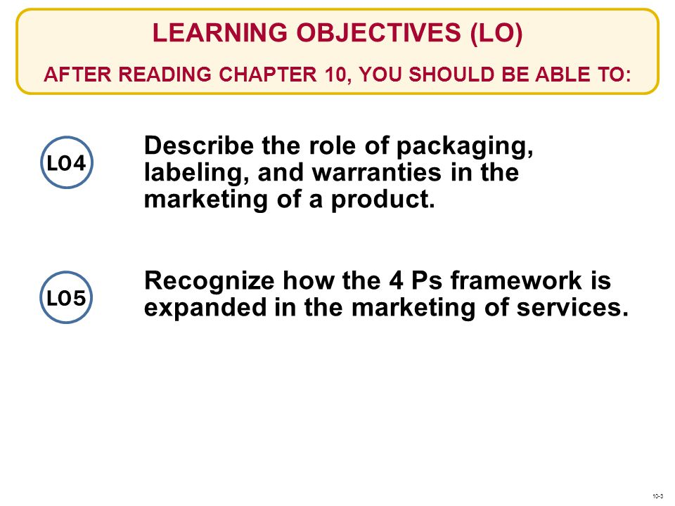LO4 LEARNING OBJECTIVES (LO) AFTER READING CHAPTER 10, YOU SHOULD BE ABLE TO: Recognize how the 4 Ps framework is expanded in the marketing of service
