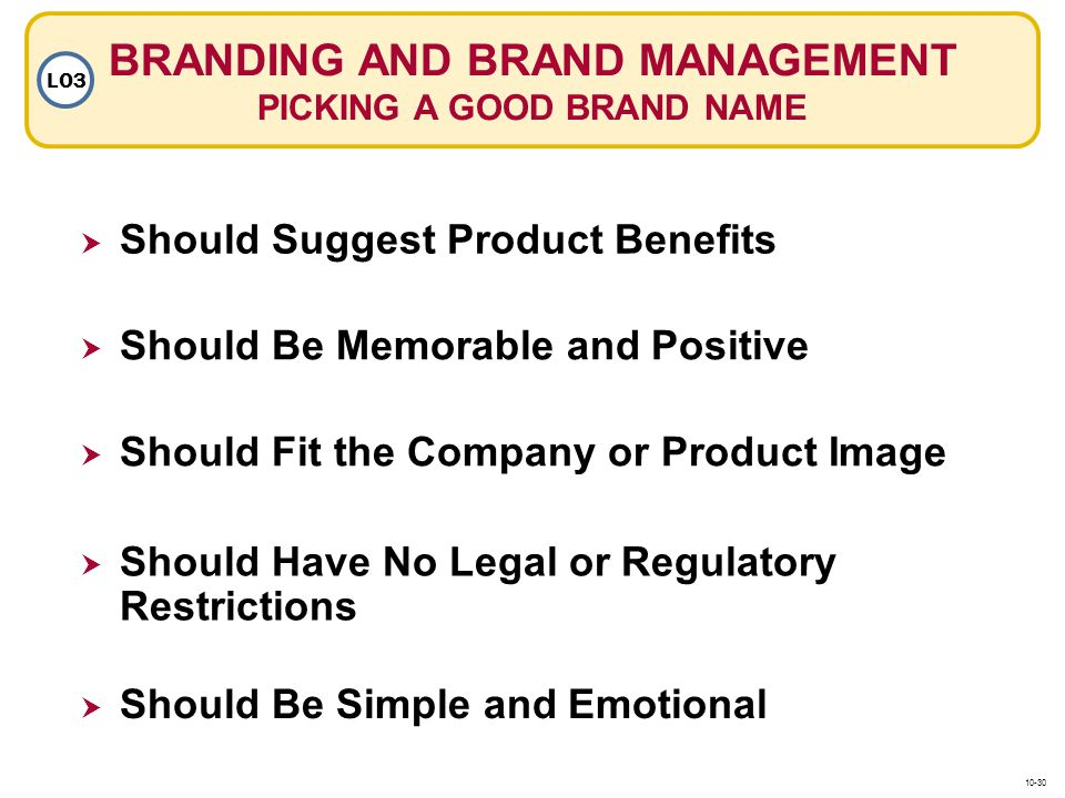 BRANDING AND BRAND MANAGEMENT PICKING A GOOD BRAND NAME LO3 Should Suggest Product Benefits Should Fit the Company or Product Image Should Be Memorabl