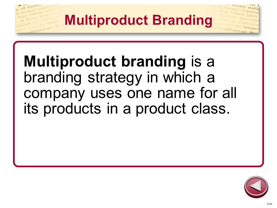 Multiproduct Branding Multiproduct branding is a branding strategy in which a company uses one name for all its products in a product class. 10-53