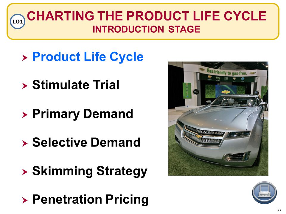 CHARTING THE PRODUCT LIFE CYCLE INTRODUCTION STAGE LO1 Product Life Cycle Primary Demand Selective Demand Skimming Strategy Penetration Pricing Stimul