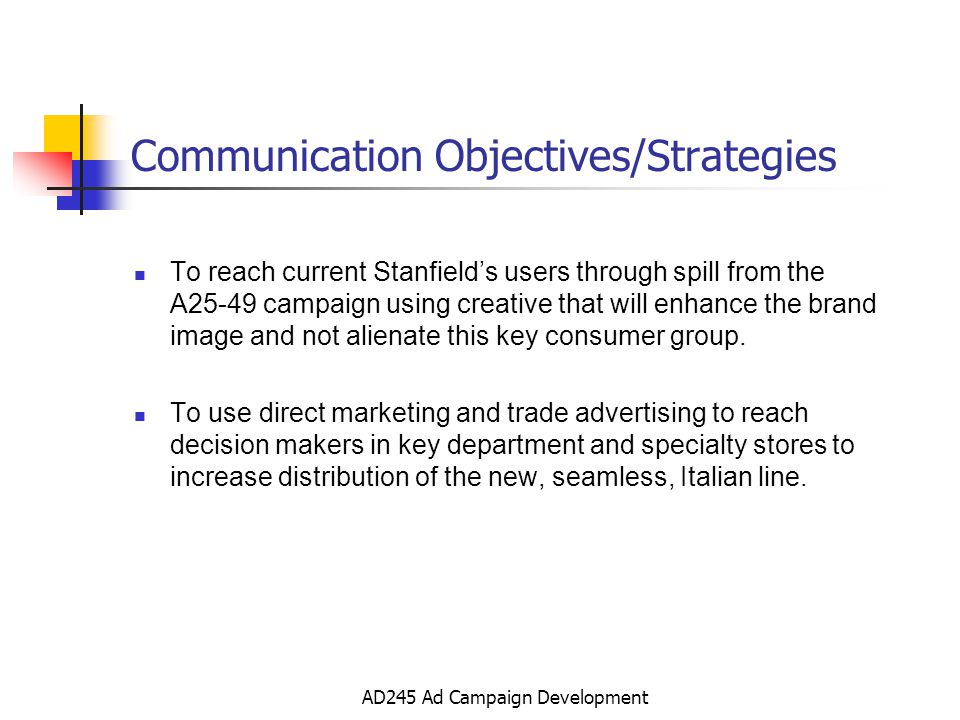 AD245 Ad Campaign Development Communication Objectives/Strategies To reach current Stanfields users through spill from the A25-49 campaign using creative that will enhance the brand image and not alienate this key consumer group.