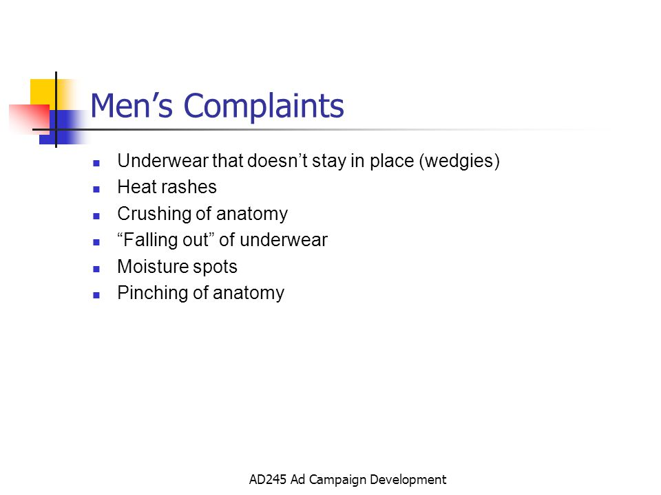 AD245 Ad Campaign Development Mens Complaints Underwear that doesnt stay in place (wedgies) Heat rashes Crushing of anatomy Falling out of underwear Moisture spots Pinching of anatomy