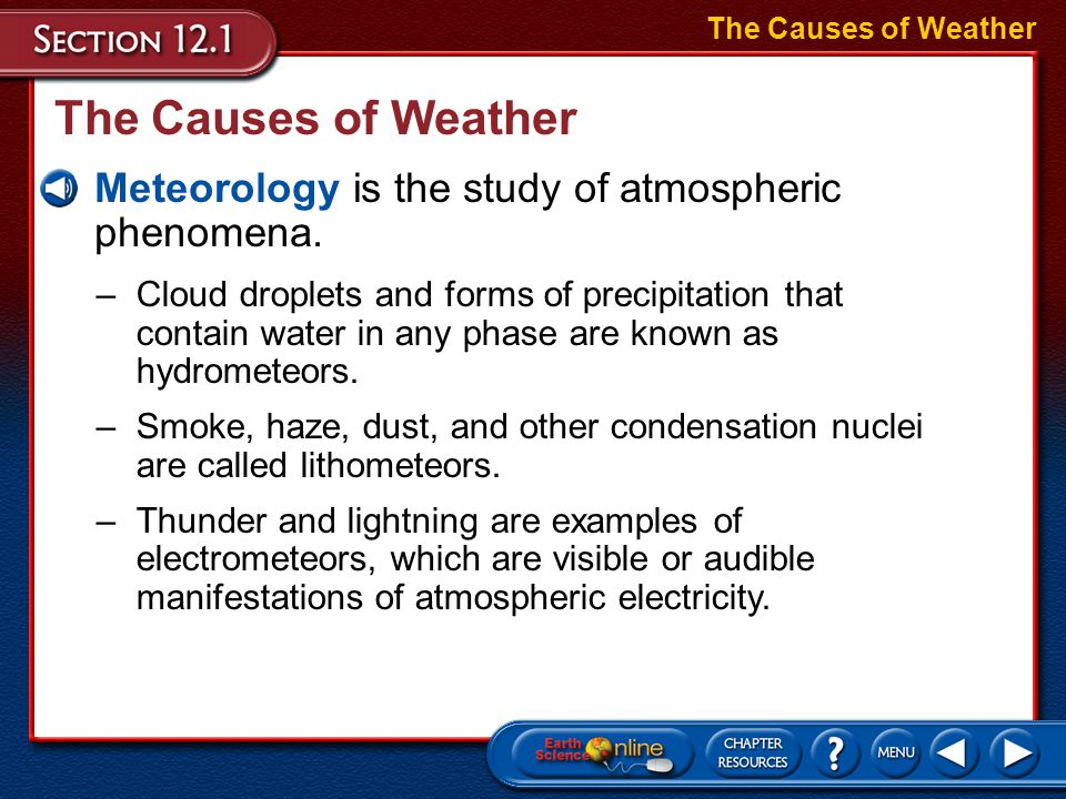 –Cloud droplets and forms of precipitation that contain water in any phase are known as hydrometeors.