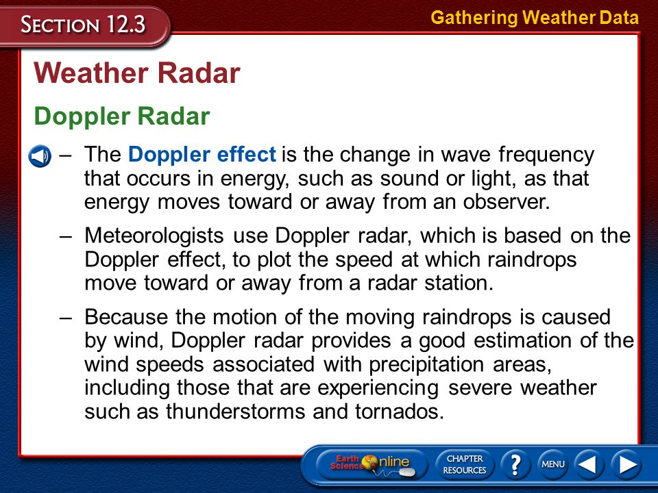 Weather Radar A weather radar system is used to pinpoint where rain is falling. Gathering Weather Data –A radar system transmits electromagnetic waves