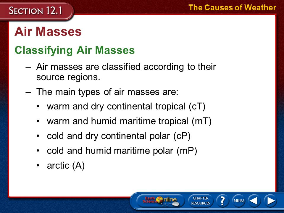 Air Masses Classifying Air Masses The Causes of Weather –Air masses are classified according to their source regions.