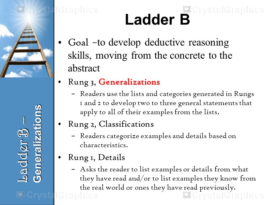 Ladder B Goal – to develop deductive reasoning skills, moving from the concrete to the abstract GeneralizationsRung 3, Generalizations –Readers use the lists and categories generated in Rungs 1 and 2 to develop two to three general statements that apply to all of their examples from the lists.