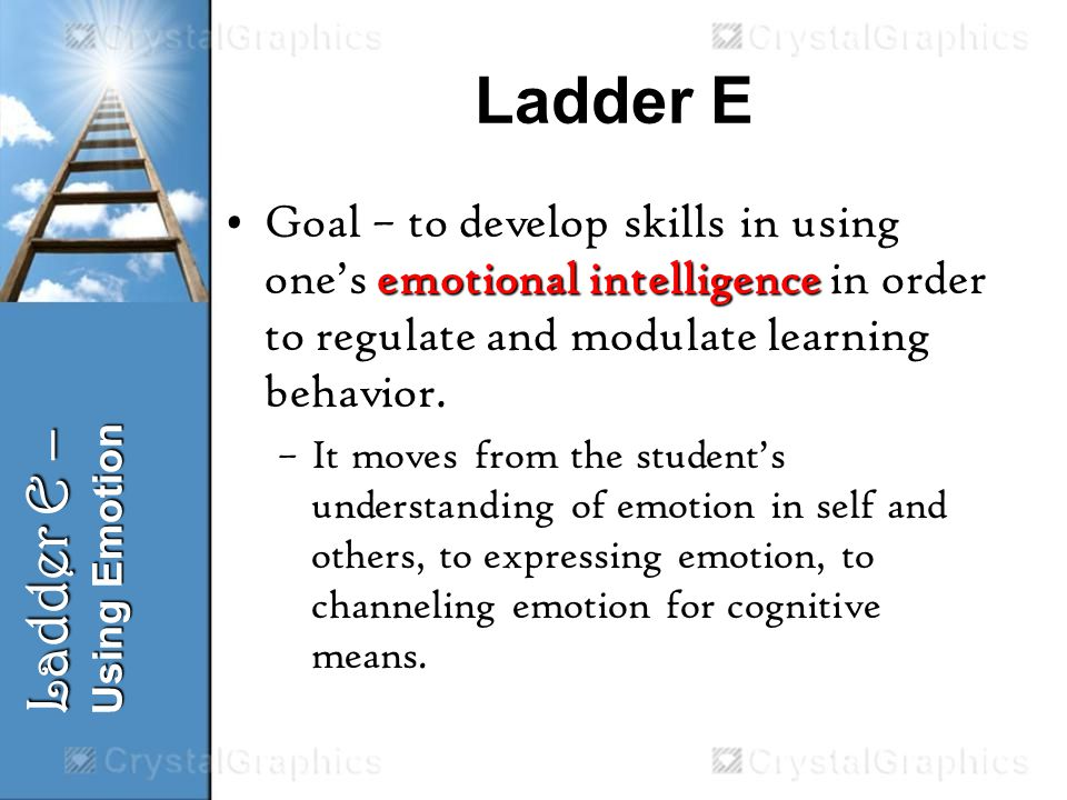 Ladder E emotional intelligenceGoal – to develop skills in using ones emotional intelligence in order to regulate and modulate learning behavior.