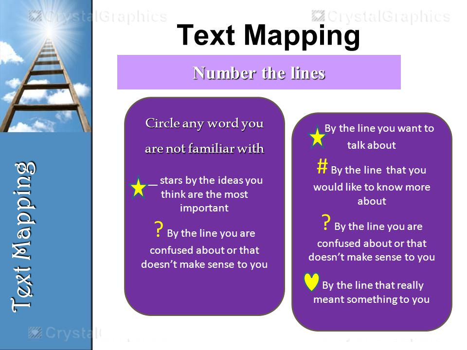 Text Mapping By the line you want to talk about # By the line that you would like to know more about .