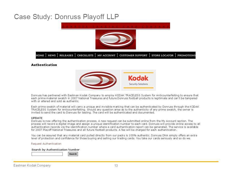 Eastman Kodak Company 13 Case Study: Donruss Playoff LLP