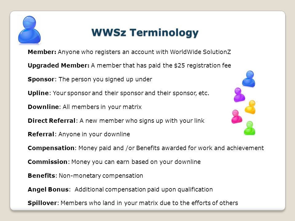WWSz Terminology Member: Anyone who registers an account with WorldWide SolutionZ Upgraded Member: A member that has paid the $25 registration fee Spo