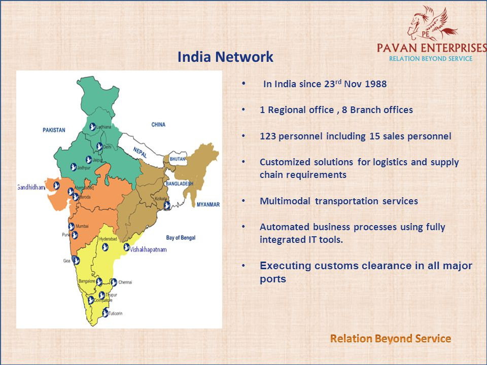 India Network In India since 23 rd Nov 1988 1 Regional office, 8 Branch offices 123 personnel including 15 sales personnel Customized solutions for lo