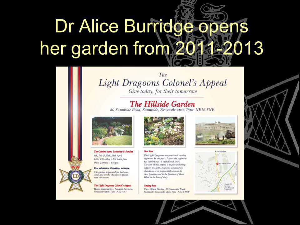 Dr Alice Burridge opens her garden from 2011-2013