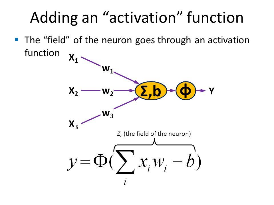 Adding an activation function Σ,b X1X1 w1w1 X2X2 X3X3 w2w2 w3w3 Y The field of the neuron goes through an activation function φ Z, (the field of the neuron)
