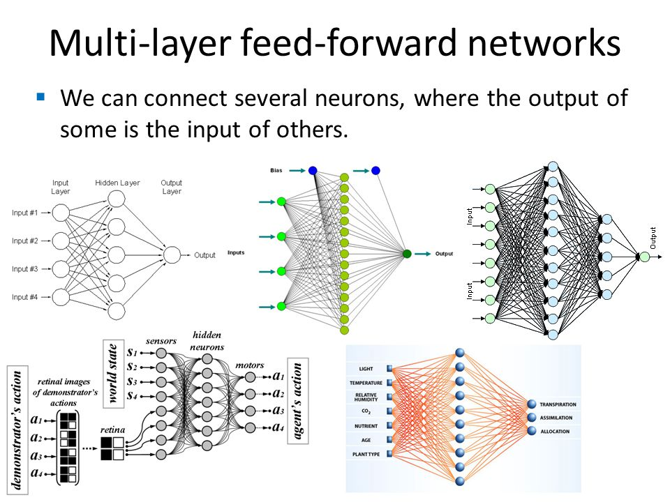 Multi-layer feed-forward networks We can connect several neurons, where the output of some is the input of others.