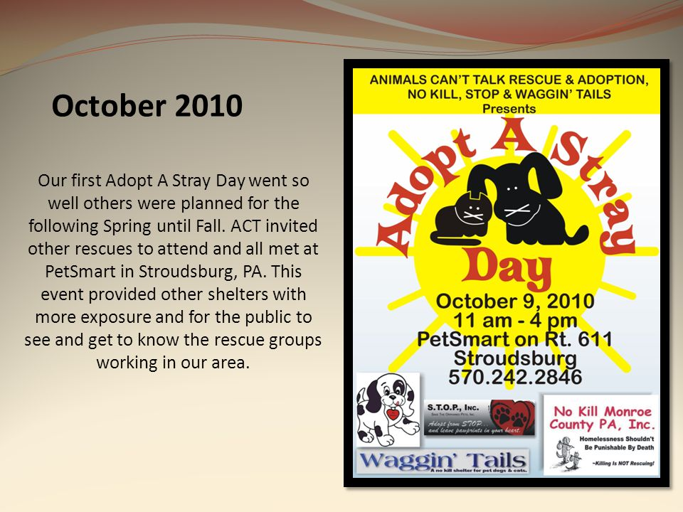 October 2010 Our first Adopt A Stray Day went so well others were planned for the following Spring until Fall. ACT invited other rescues to attend and