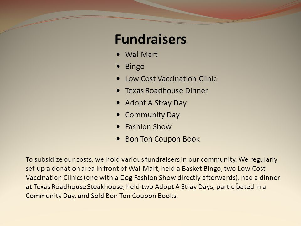 Fundraisers Wal-Mart Bingo Low Cost Vaccination Clinic Texas Roadhouse Dinner Adopt A Stray Day Community Day Fashion Show Bon Ton Coupon Book 5 To su
