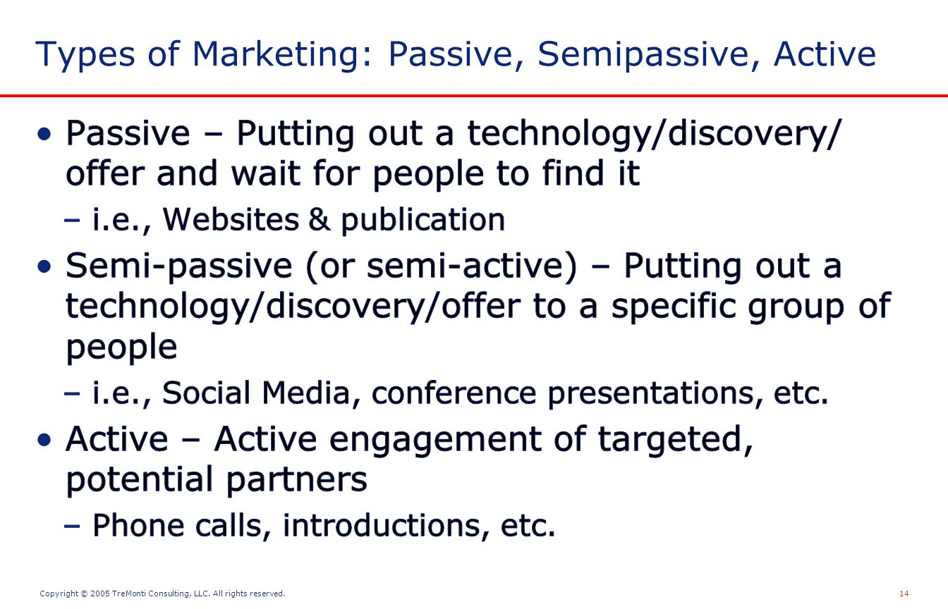 Copyright © 2005 TreMonti Consulting, LLC. All rights reserved.14 Types of Marketing: Passive, Semipassive, Active