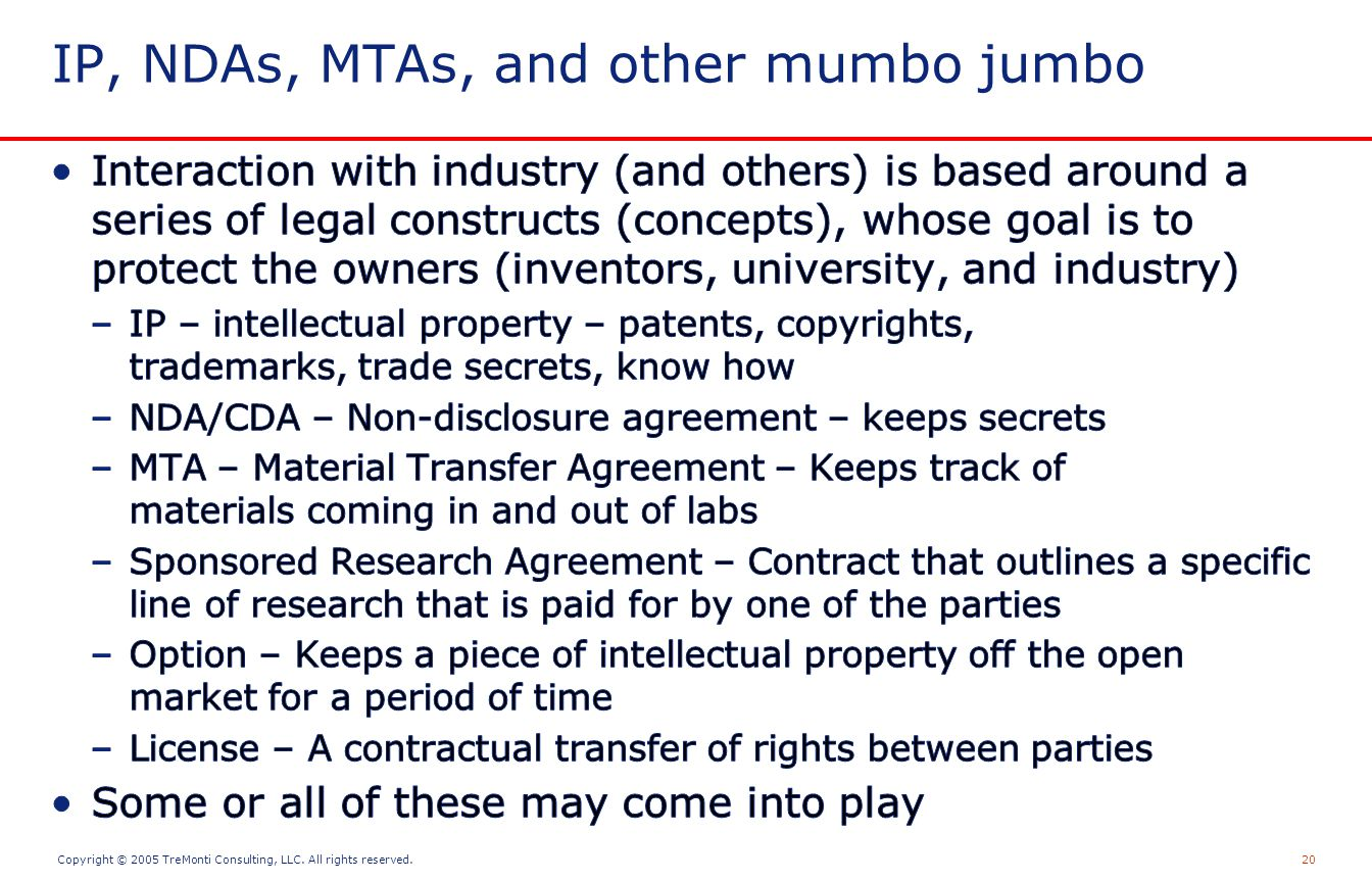 Copyright © 2005 TreMonti Consulting, LLC. All rights reserved.20 IP, NDAs, MTAs, and other mumbo jumbo