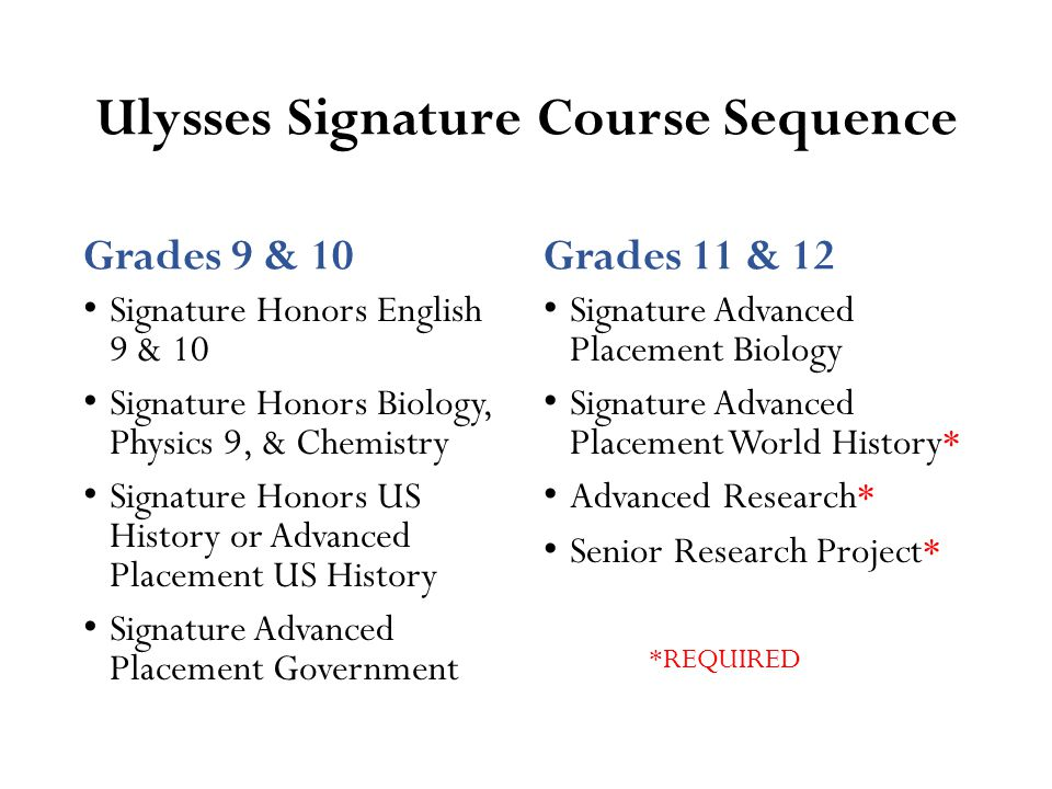 Ulysses Science Course Sequence Physics Recommendation Grade 9 Honors Physics Grade 10 Honors Chemistry Grade 11 AP Biology; 3 on AP exam Grade 12 AP Science of choice Biology Recommendation Honors Biology, HSA Honors Chemistry Honors Physics or AP Science of choice AP Science of choice