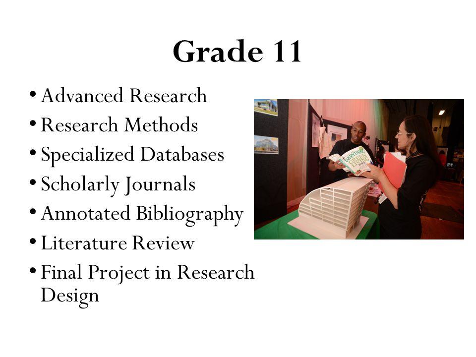 Grade 12 Senior Research Project Class Application of Research Methods Mentor Presentation Exhibition Portfolio