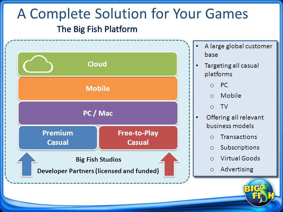 A Complete Solution for Your Games A large global customer base Targeting all casual platforms o PC o Mobile o TV Offering all relevant business models o Transactions o Subscriptions o Virtual Goods o Advertising A large global customer base Targeting all casual platforms o PC o Mobile o TV Offering all relevant business models o Transactions o Subscriptions o Virtual Goods o Advertising Mobile Cloud PC / Mac Premium Casual Premium Casual Free-to-Play Casual Free-to-Play Casual Developer Partners (licensed and funded) Big Fish Studios