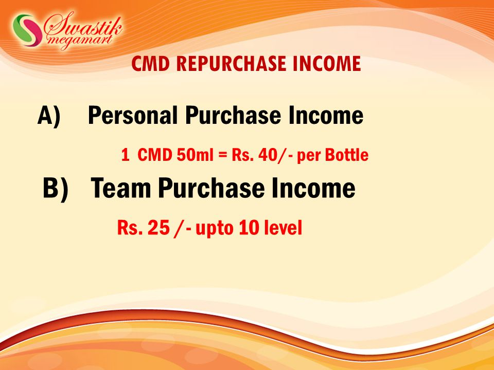 CMD REPURCHASE INCOME A)Personal Purchase Income 1 CMD 50ml = Rs.