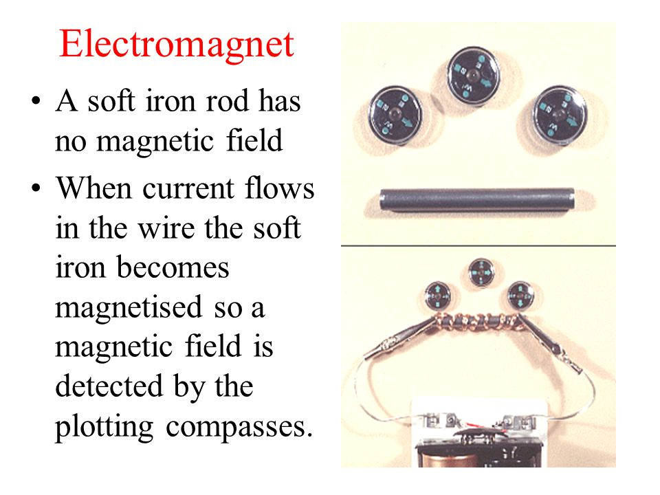 Electromagnet A soft iron rod has no magnetic field When current flows in the wire the soft iron becomes magnetised so a magnetic field is detected by