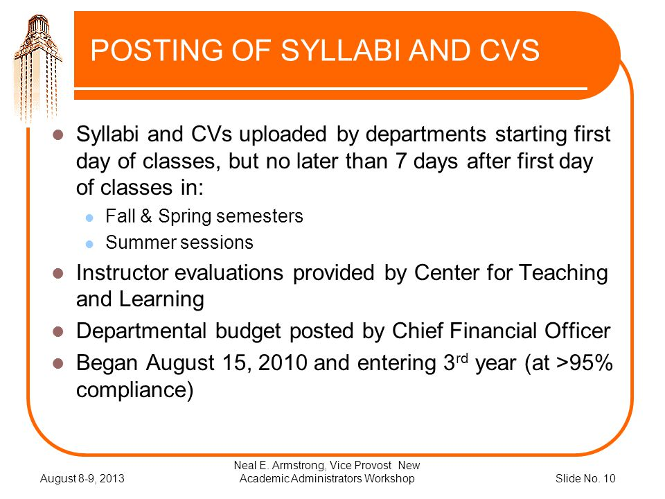 Slide No. 10 POSTING OF SYLLABI AND CVS Syllabi and CVs uploaded by departments starting first day of classes, but no later than 7 days after first da