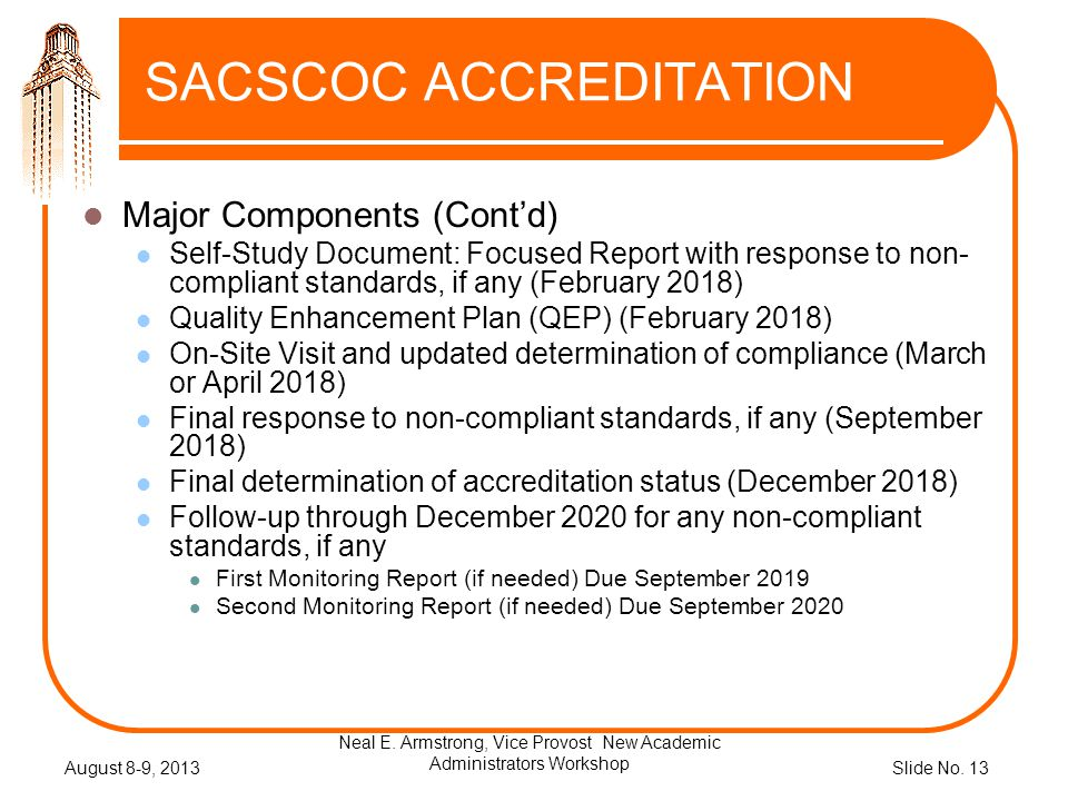 Slide No. 13 SACSCOC ACCREDITATION Major Components (Contd) Self-Study Document: Focused Report with response to non- compliant standards, if any (Feb