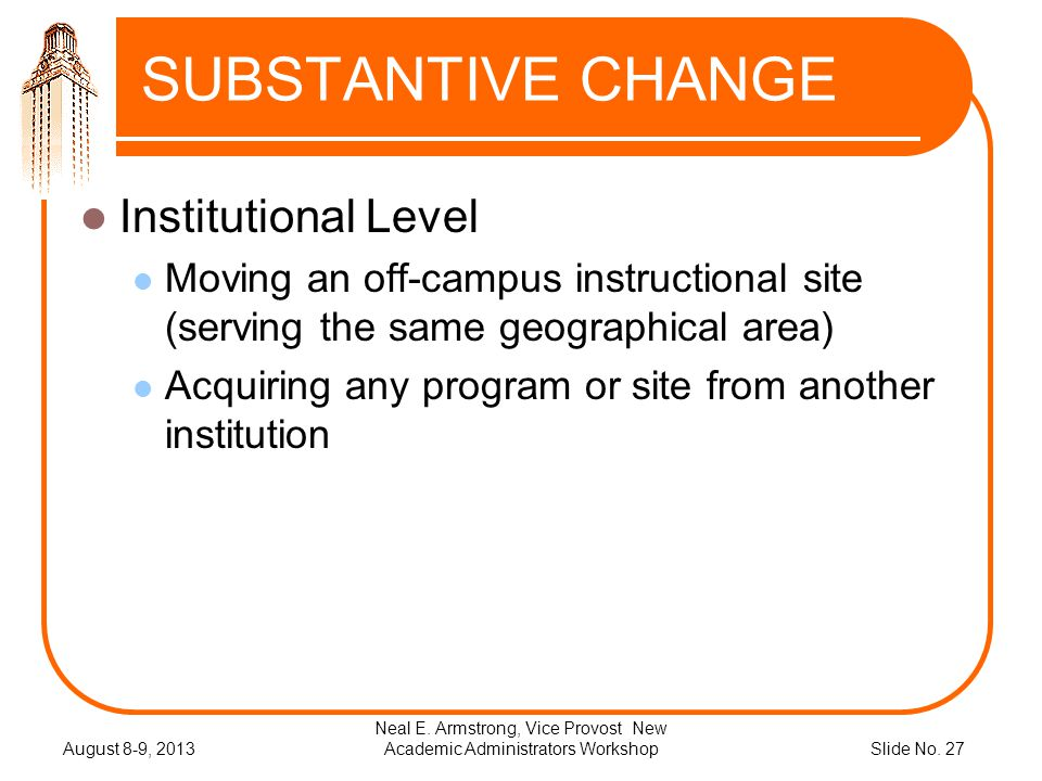 Slide No. 27 SUBSTANTIVE CHANGE Institutional Level Moving an off-campus instructional site (serving the same geographical area) Acquiring any program