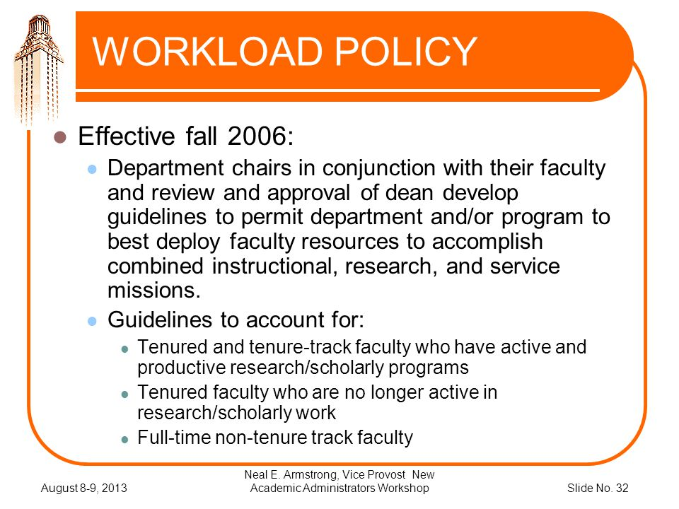 Slide No. 32 WORKLOAD POLICY Effective fall 2006: Department chairs in conjunction with their faculty and review and approval of dean develop guidelin