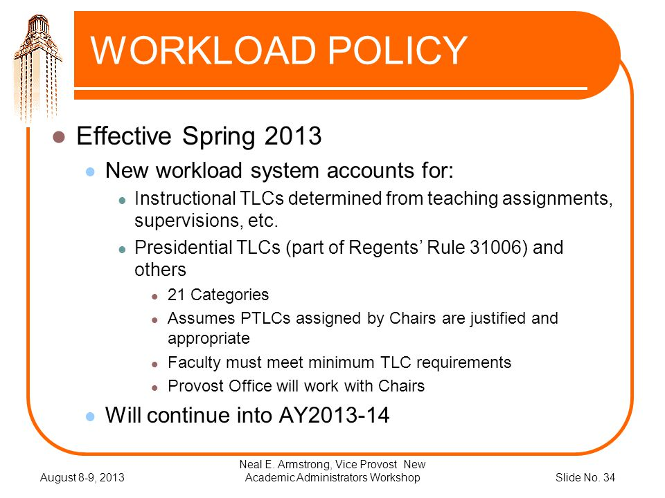 Slide No. 34 WORKLOAD POLICY Effective Spring 2013 New workload system accounts for: Instructional TLCs determined from teaching assignments, supervis