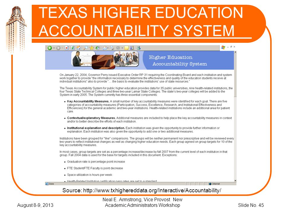 Slide No. 45 TEXAS HIGHER EDUCATION ACCOUNTABILITY SYSTEM August 8-9, 2013 Neal E.