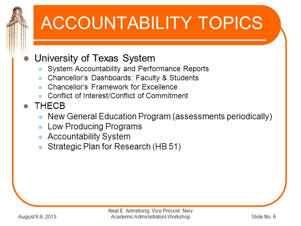 Slide No. 6 ACCOUNTABILITY TOPICS University of Texas System System Accountability and Performance Reports Chancellors Dashboards: Faculty & Students