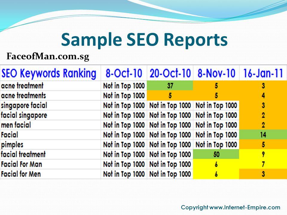 Sample SEO Reports Copyright www.Internet-Empire.com FaceofMan.com.sg
