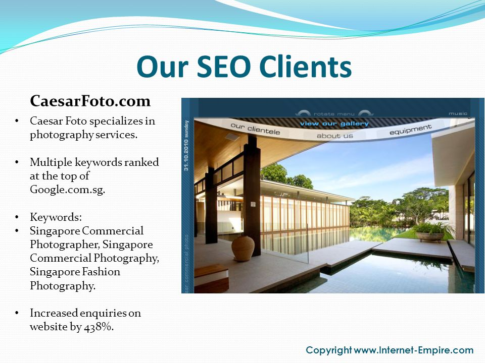 Our SEO Clients Copyright www.Internet-Empire.com AOX.com.sg AOX specializes in Antioxidant Alkaline drinking water dispensers.