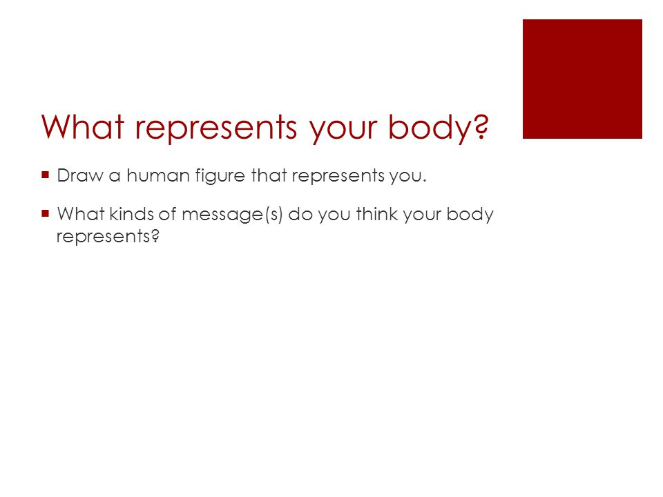 What represents your body. Draw a human figure that represents you.