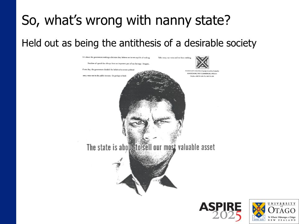 So, whats wrong with nanny state Held out as being the antithesis of a desirable society