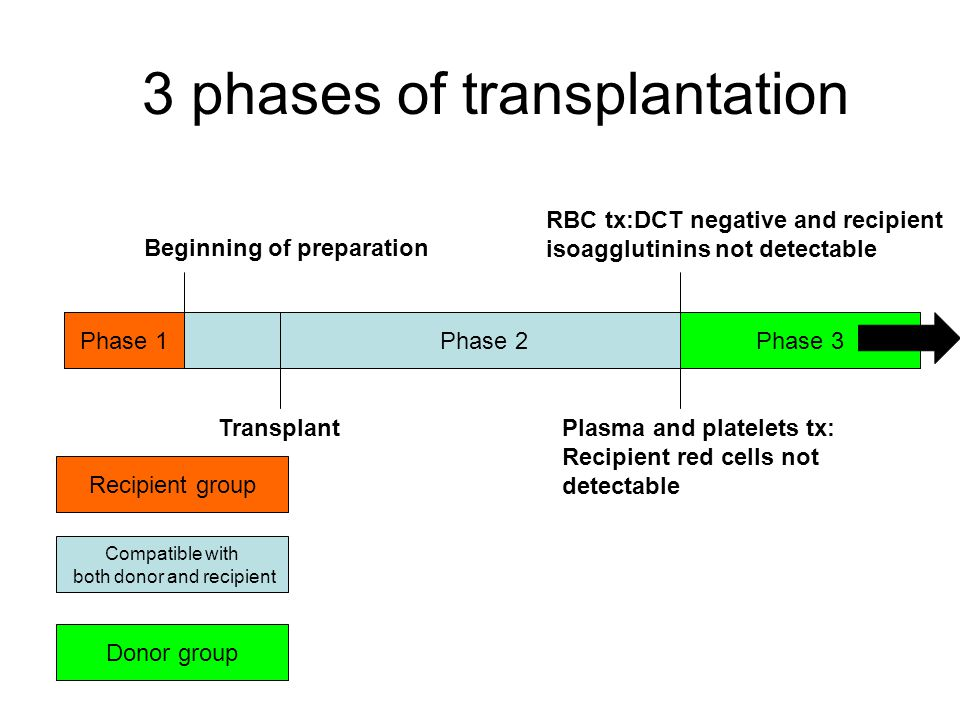 3 phases of transplantation Phase 2Phase 1Phase 3 Beginning of preparation RBC tx:DCT negative and recipient isoagglutinins not detectable Plasma and platelets tx: Recipient red cells not detectable Recipient group Donor group Compatible with both donor and recipient Transplant