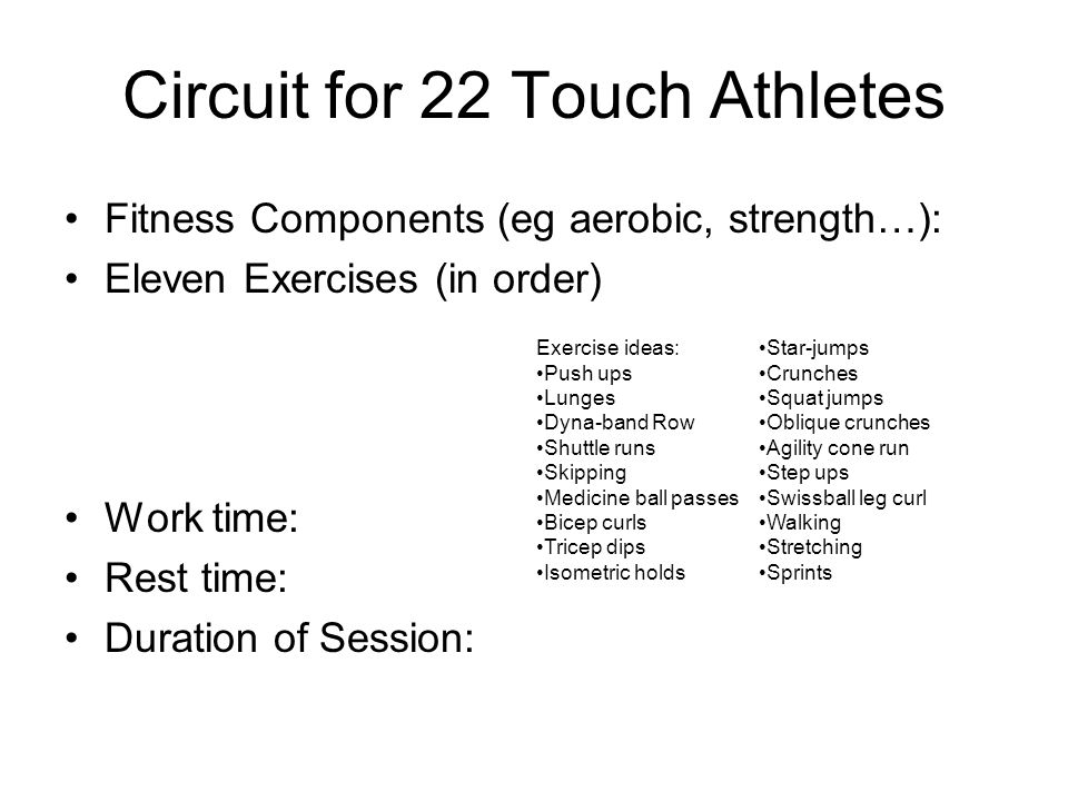 Circuit for 22 Touch Athletes Fitness Components (eg aerobic, strength…): Eleven Exercises (in order) Work time: Rest time: Duration of Session: Exercise ideas: Push ups Lunges Dyna-band Row Shuttle runs Skipping Medicine ball passes Bicep curls Tricep dips Isometric holds Star-jumps Crunches Squat jumps Oblique crunches Agility cone run Step ups Swissball leg curl Walking Stretching Sprints