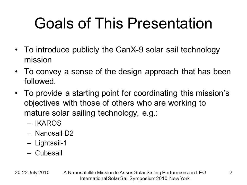 20-22 July 2010A Nanosatellite Mission to Asses Solar Sailing Performance in LEO International Solar Sail Symposium 2010, New York 3 Background: History of Solar Sailing in Canada 1978: Modi & Van Der Ha orbital dynamics papers (UBC)