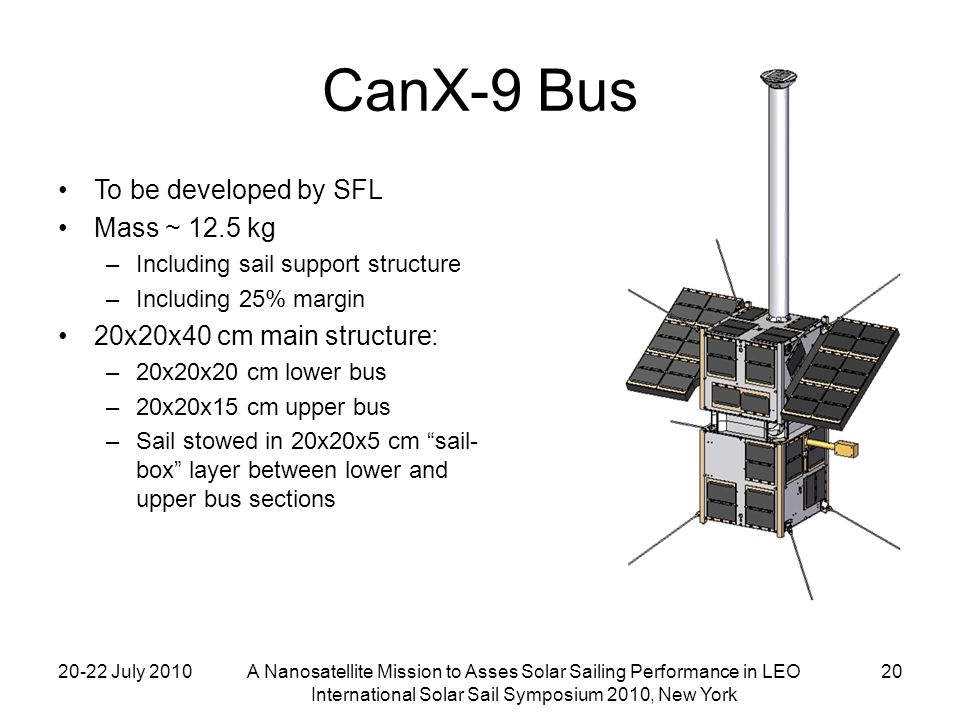 20-22 July 2010A Nanosatellite Mission to Asses Solar Sailing Performance in LEO International Solar Sail Symposium 2010, New York 20 CanX-9 Bus To be developed by SFL Mass ~ 12.5 kg –Including sail support structure –Including 25% margin 20x20x40 cm main structure: –20x20x20 cm lower bus –20x20x15 cm upper bus –Sail stowed in 20x20x5 cm sail- box layer between lower and upper bus sections