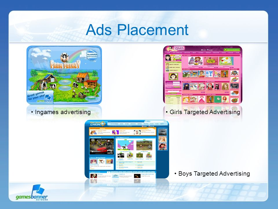 Ads Placement Ingames advertising Girls Targeted Advertising Boys Targeted Advertising