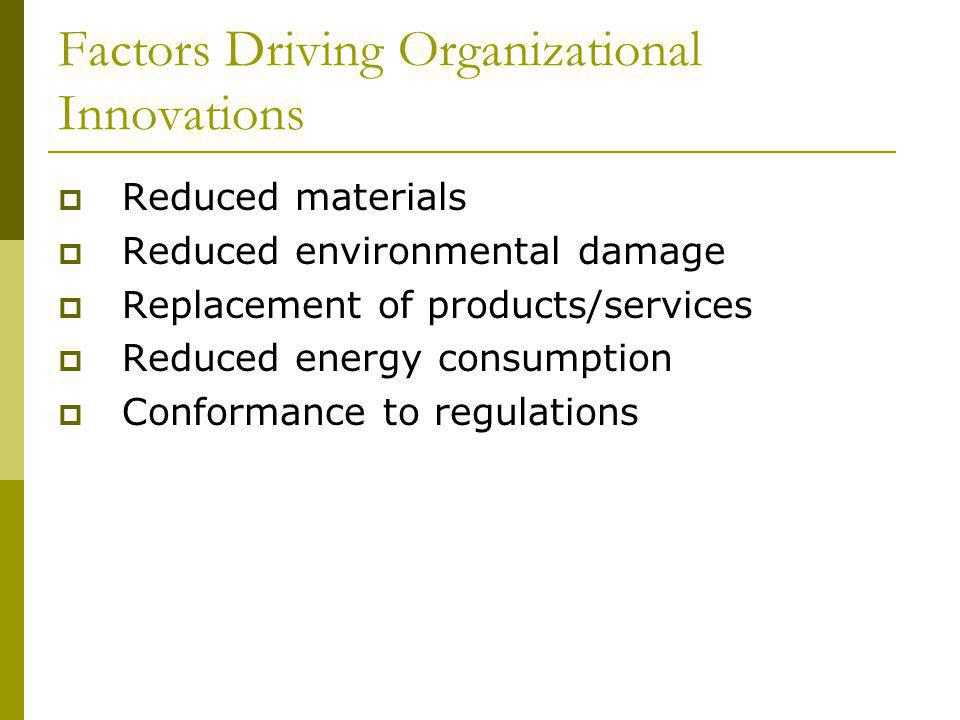 Factors Driving Organizational Innovations Reduced materials Reduced environmental damage Replacement of products/services Reduced energy consumption Conformance to regulations