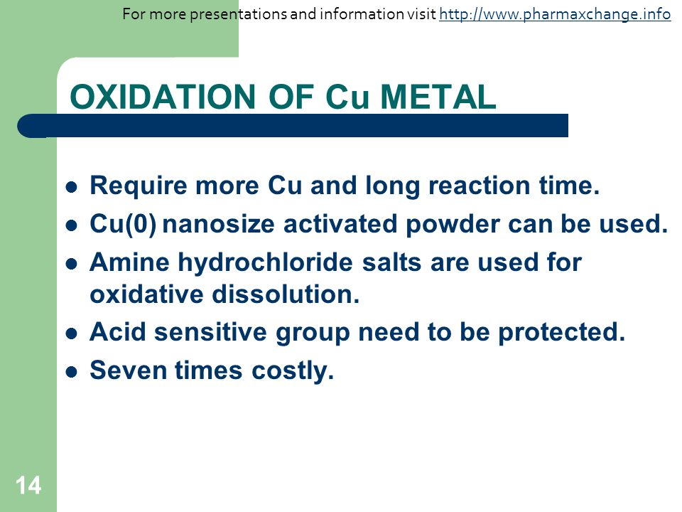 14 OXIDATION OF Cu METAL Require more Cu and long reaction time. Cu(0) nanosize activated powder can be used. Amine hydrochloride salts are used for o