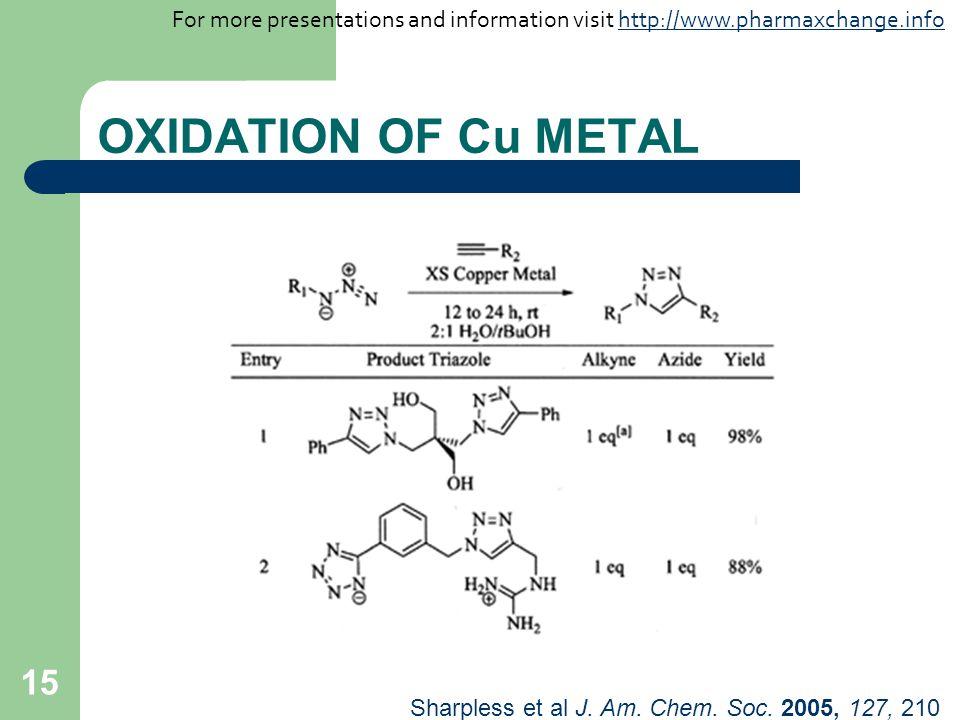 15 OXIDATION OF Cu METAL Sharpless et al J. Am. Chem. Soc. 2005, 127, 210 For more presentations and information visit http://www.pharmaxchange.infoht