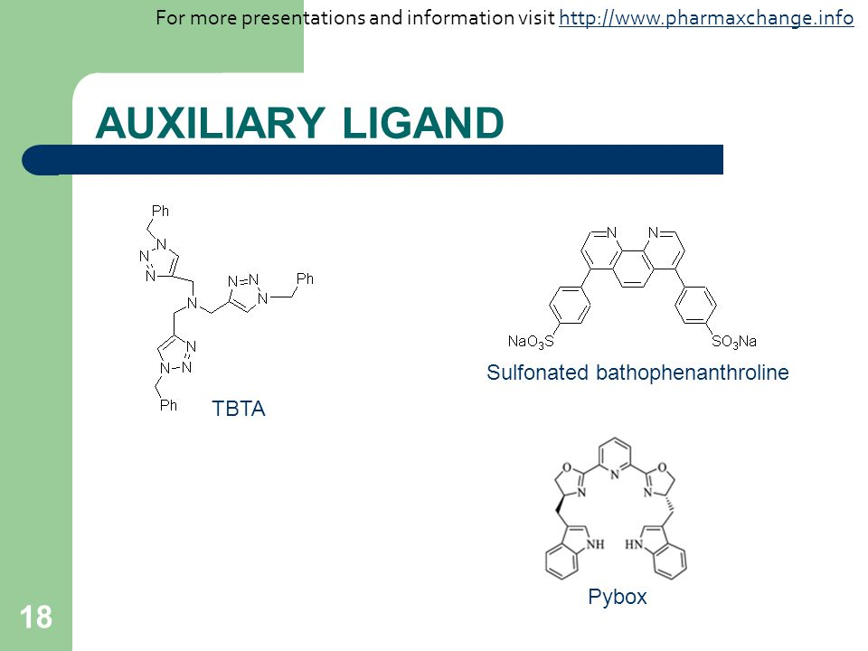 18 AUXILIARY LIGAND TBTA Sulfonated bathophenanthroline Pybox For more presentations and information visit http://www.pharmaxchange.infohttp://www.pharmaxchange.info
